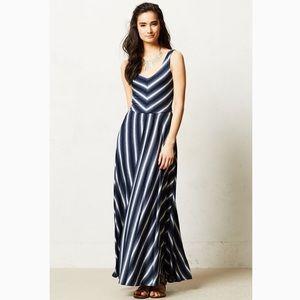 Antro Puella Tamsin Navy Blue Striped Maxi Dress